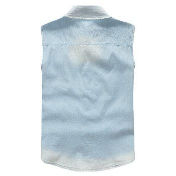 Men's Waistcoat Cozy Solid Color Sleeveless Denim Coat - CORAL BLUE L