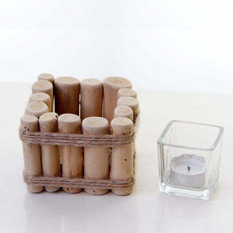 Pure Wood  Candle Holder Rural Style Manual Tealight Candlestick - WOOD