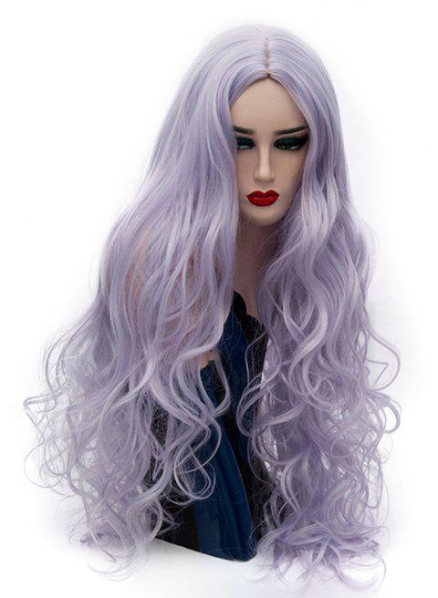 Synthetic Fashion Blue Pink Long Curly Hair High Temperature for Women 31 inch - LAVENDER BLUE