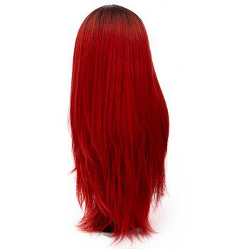 Long Straight Red Bob Wig High Temperature for Women Cosplay Party 29 inch - CHERRY RED