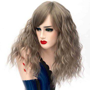 Fashion Long Curly Dark Gray Wig with Bangs for Women High Temperature 17 inch - GRAY