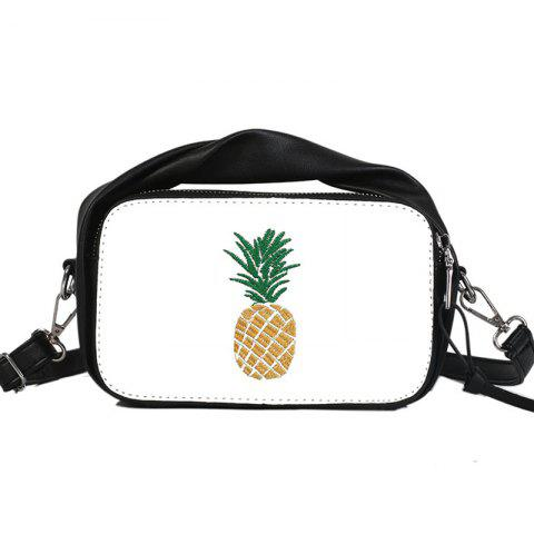 Pineapple Embroidery Small and Fresh Single Shoulder Messenger Bag - BLACK