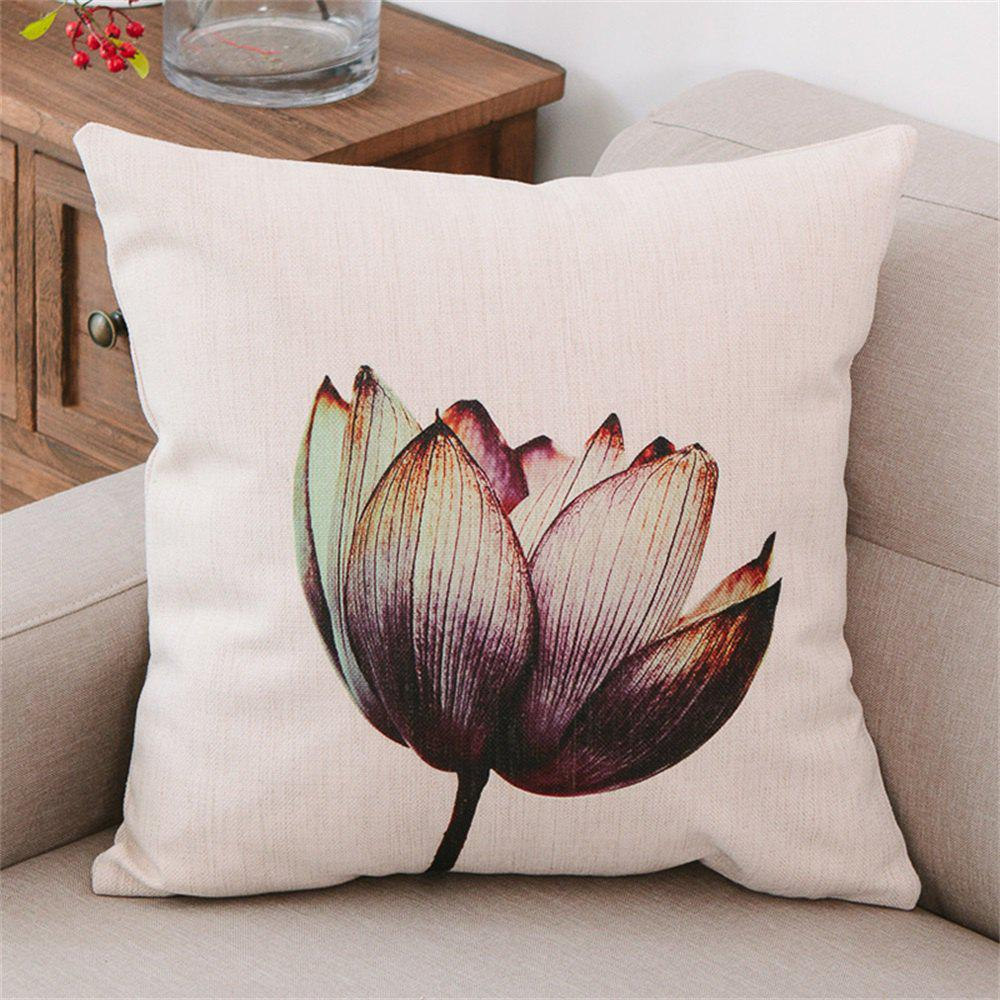 Simple Modern Lotus Design Pillow Cover - multicolor A