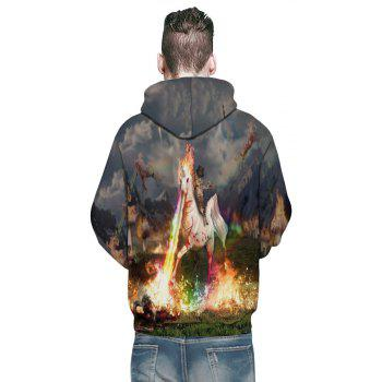 New Fashion White Horse 3D Printing Men's Hoodie - GRAY M