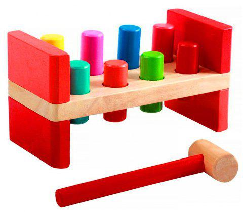 Pounding Bench Peg Wooden Toy Mallet Early Educational Games for Toddlers Kids - multicolor A