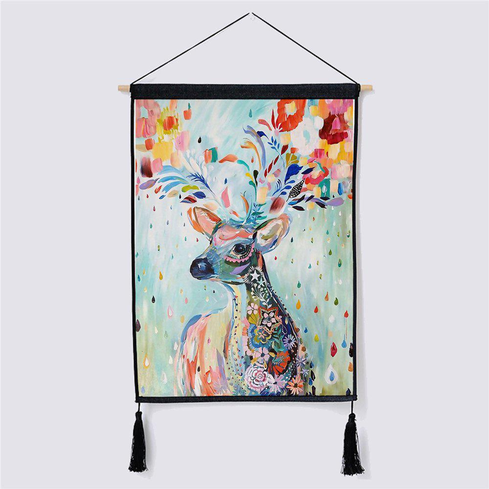 Modern Style Deer Fabric Hanging Painting modern minimalist style green leaf fabric hanging painting