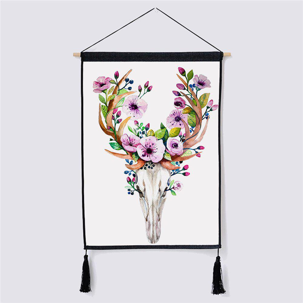 Modern Style Deer Fabric Hanging Painting Wall Decor led lamp creative lights fabric lampshade painting chandelier iron vintage chandeliers american style indoor lighting fixture