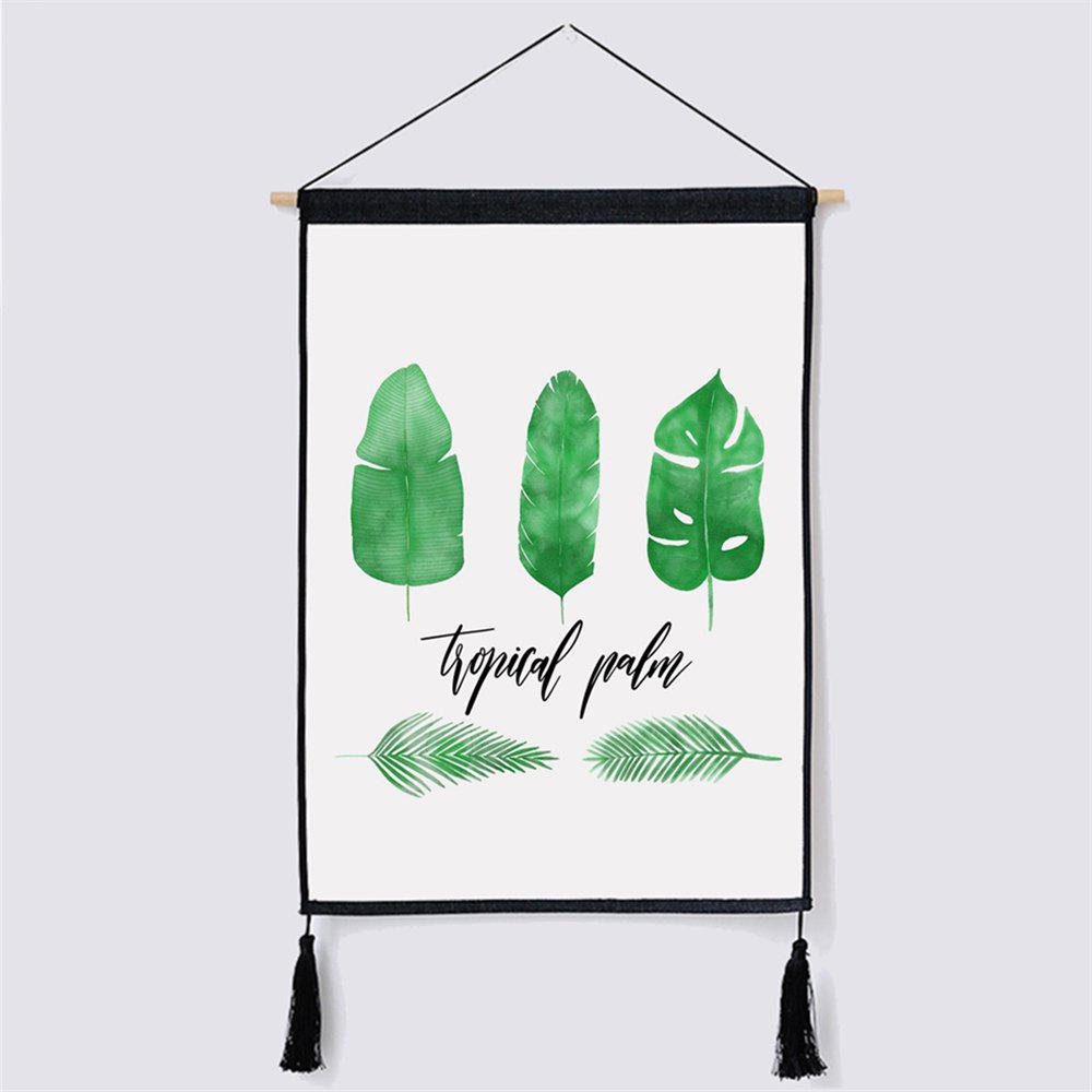 Green Leaf Fabric Hanging Painting for Wall Decor modern minimalist style green leaf fabric hanging painting