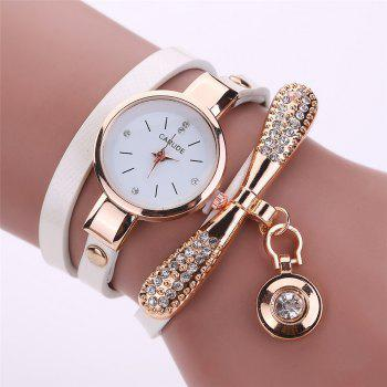 XR1931 Women Wrap Around PU Leather Wrist Watch with Pendant - WHITE