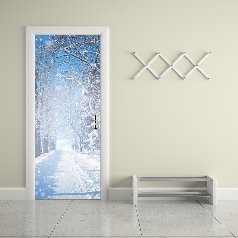 3D Winter Snow Tree Scenery Door Sticker for Kids Room sticker winter sports