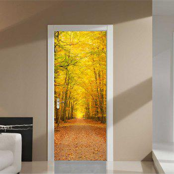 Autumn Deciduous Large Yellow Tree Leaves Landscape Door Stickers - multicolor 77X200CM