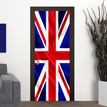 Large 3D British Flag Door Mural DIY Removable Wall Sticker - multicolor 77X200CM