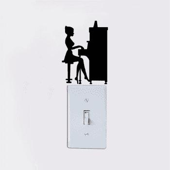 Girl Playing Piano Silhouette Light Switch Decals Vinyl Music Wall Sticker - BLACK 14X10.1CM