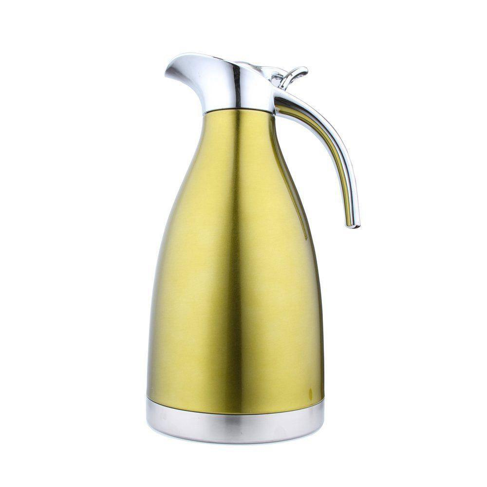 2L Stainless Steel Coffee Cold Drink Kettle Household Water Pitcher Bottle 68 OZ