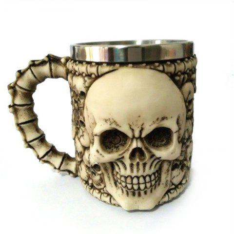 BALDR 3D Skull Dragon Claw Knight Skeleton Spine Stainless Steel Cup Coffee Mug - multicolor B