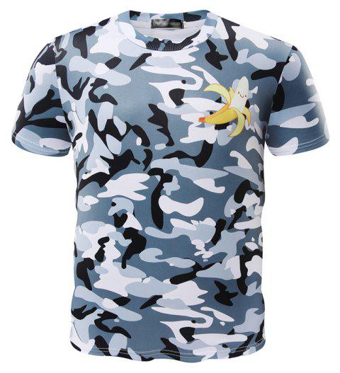 New Summer Fashion Banana Camouflage Men's Short Sleeve T-shirts - multicolor 2XL