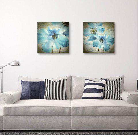 W108 Flowers Unframed Wall Canvas Prints for Home Decorations 2 PCS - multicolor A 30CM X 30CM X 2PC