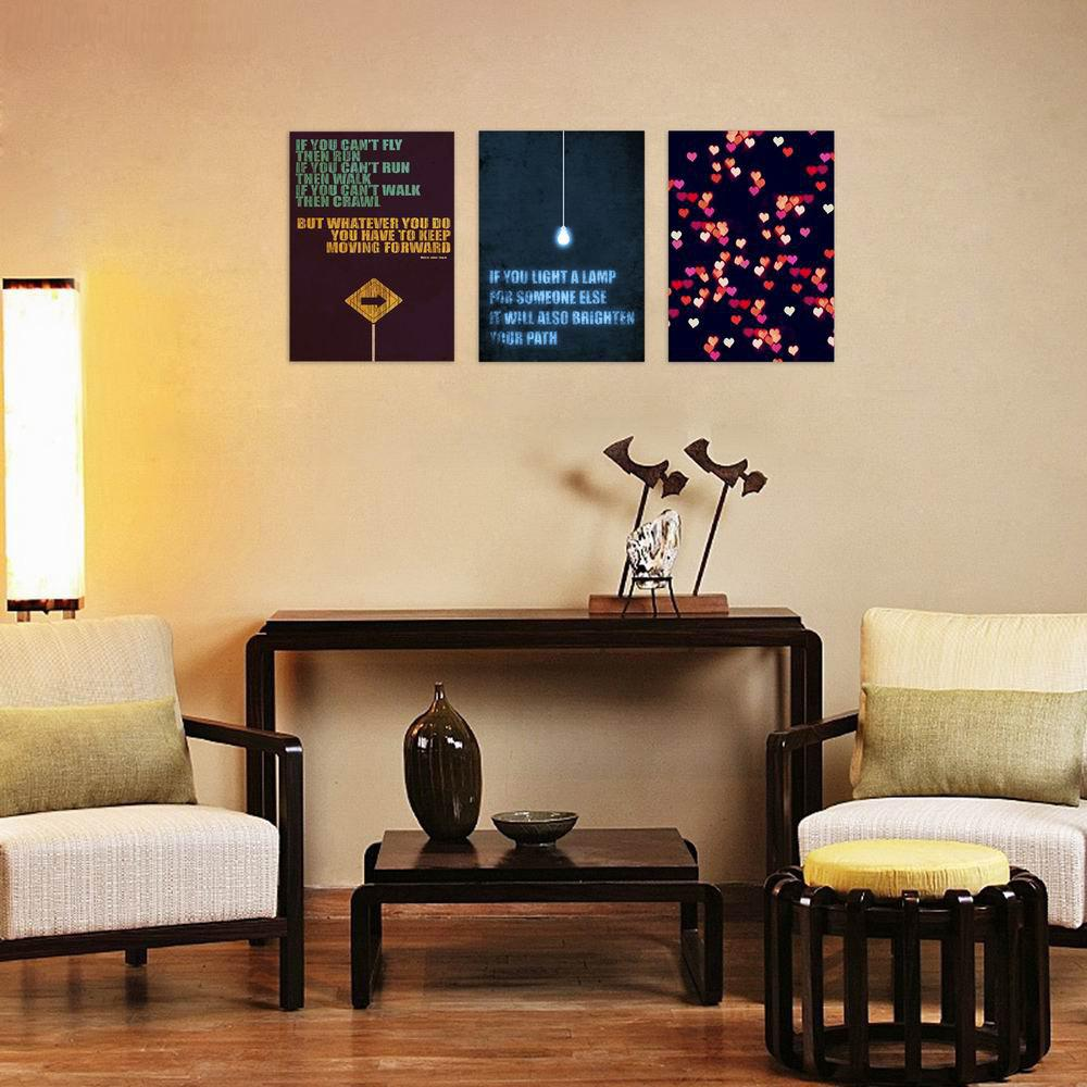 W115 Letters Unframed Wall Art Canvas Prints for Home Decoration 3PC family wall quote removable wall stickers home decal art mural