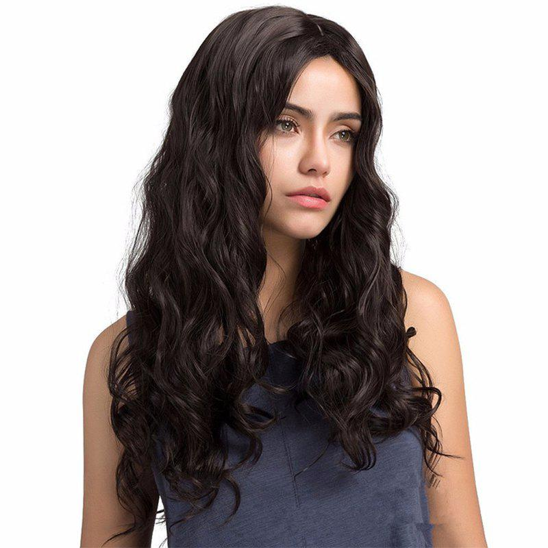 Centre-Parted Curly Long Hair - BLACK 26INCH