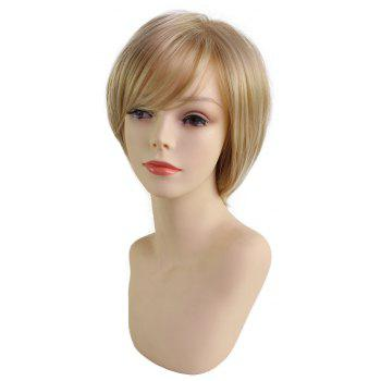 Elegant Fluffy Oblique Fringe Short Hair Synthetic Wig - SAND