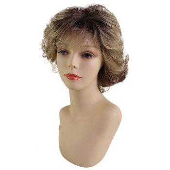 Fashionable Fluffy Temperate Gradient Color Short Synthetic Wig - multicolor T