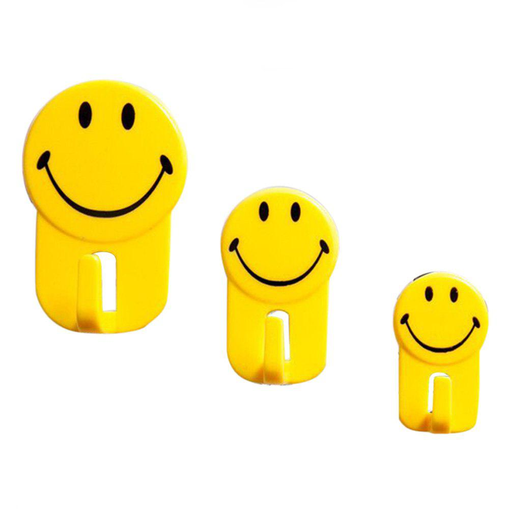 2018 Creative Cartoon Wall Smile Strong Home Hook 3PCS YELLOW In ...