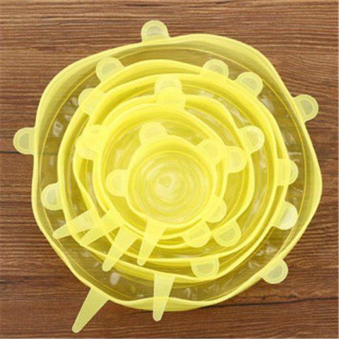 6Pcs Universal Silicone Cover Vacuum Seal Suction Sealer Food Bowl Pot Stretch - CORN YELLOW