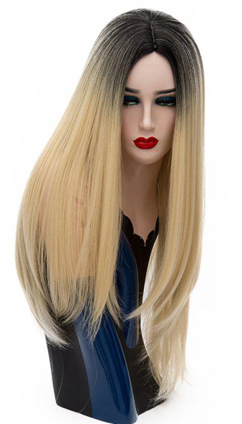 Fashion Long Straight Bob Wig High Temperature for Women 29 inch Yellow - GOLD