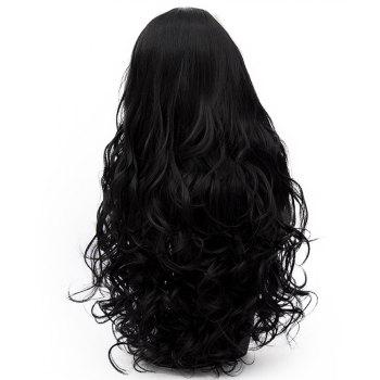 Long Curly Hair with Bangs for Women High Temperature Black Color Wig 31 inch - BLACK