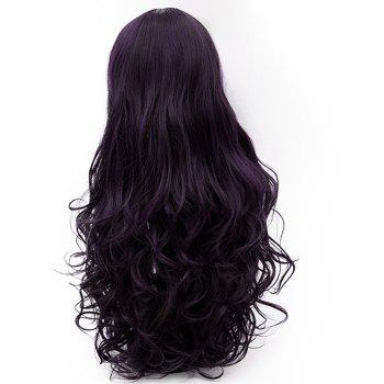 Fashion Long Curly Hair with Bangs for Women Purple and Black Color Wig 31 inch - PLUM PURPLE