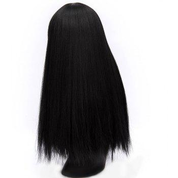 Fashion Long Straight Wig for Women High Temperature Black 25 inch - BLACK