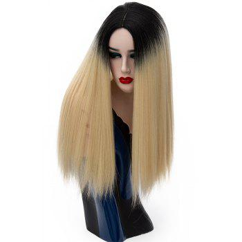 Long Straight Dark Roots High Temperature Wigs for Women Yellow Color 21 inch - SUN YELLOW