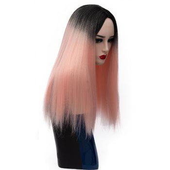 Long Straight Dark Roots High Temperature Wigs for Women Pink Color 21 inch - MISTY ROSE
