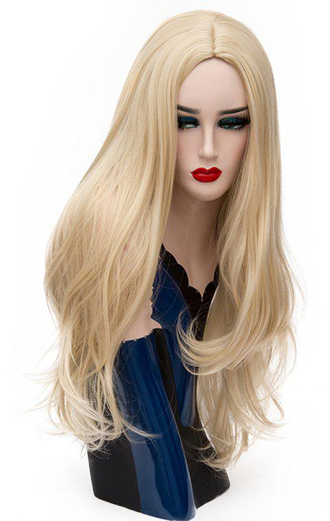 Fashion Long Straight Bob Wig for Women High Temperature Gold color 29 inch - GOLD