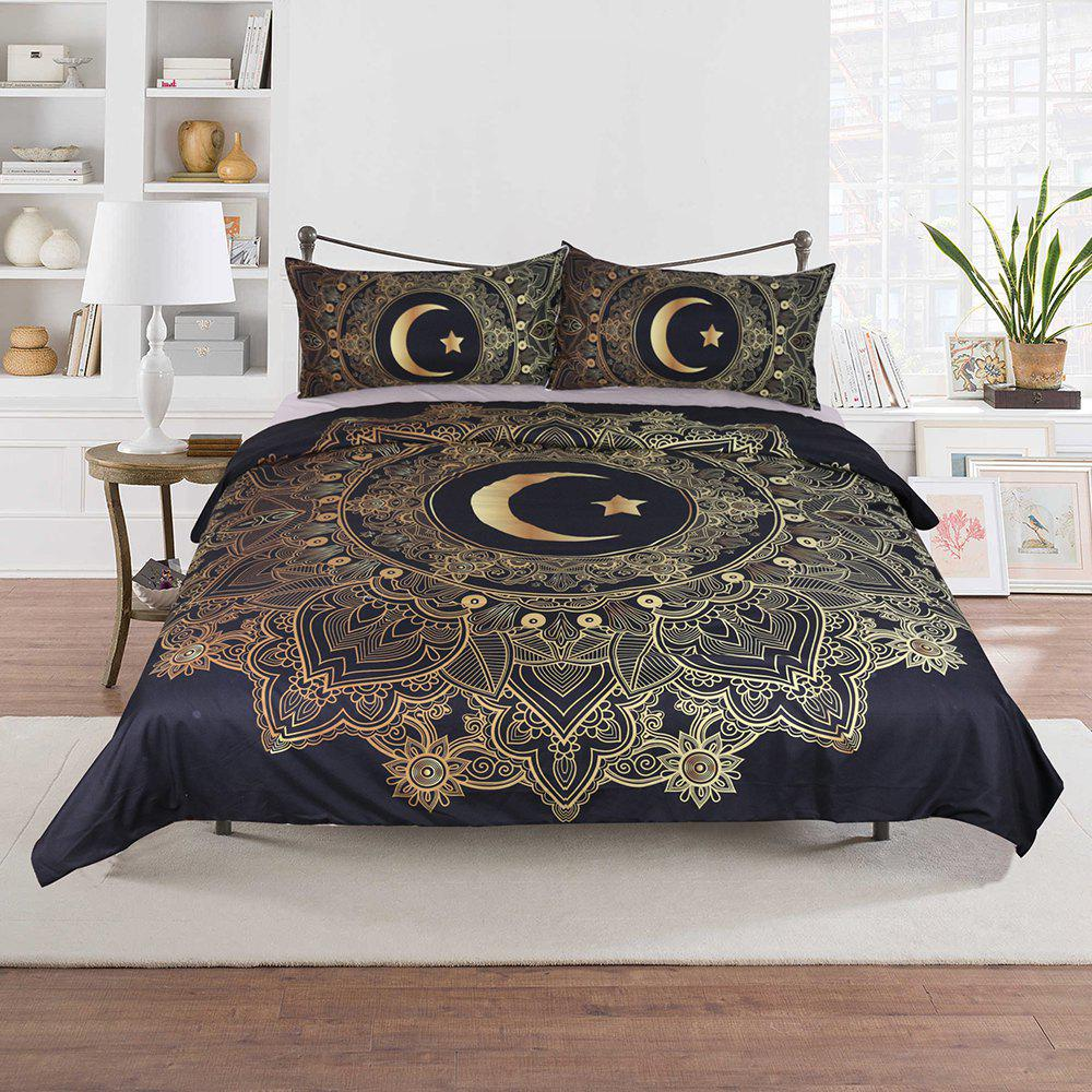 Star Moon Bedding  Duvet Cover Set Digital Print 3pcs - multicolor FULL