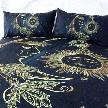 Gold Moon Bedding  Duvet Cover Set Digital Print 3pcs - multicolor FULL