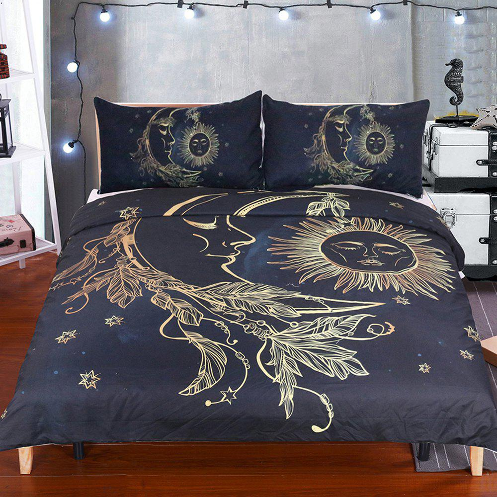 Gold Moon Bedding  Duvet Cover Set Digital Print 3pcs - multicolor QUEEN