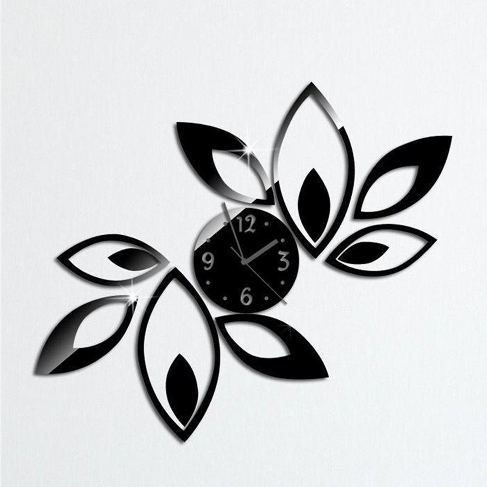 3D Silver Black Big Flower Quartz Acrylic Mirror Wall Clock Mode Modern Design - BLACK