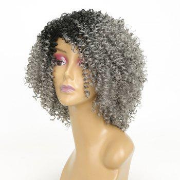 Short Colormix Gray Ombre Side Bang Kinky Curly Best Synthetic Hair Wig - PLATINUM 12INCH