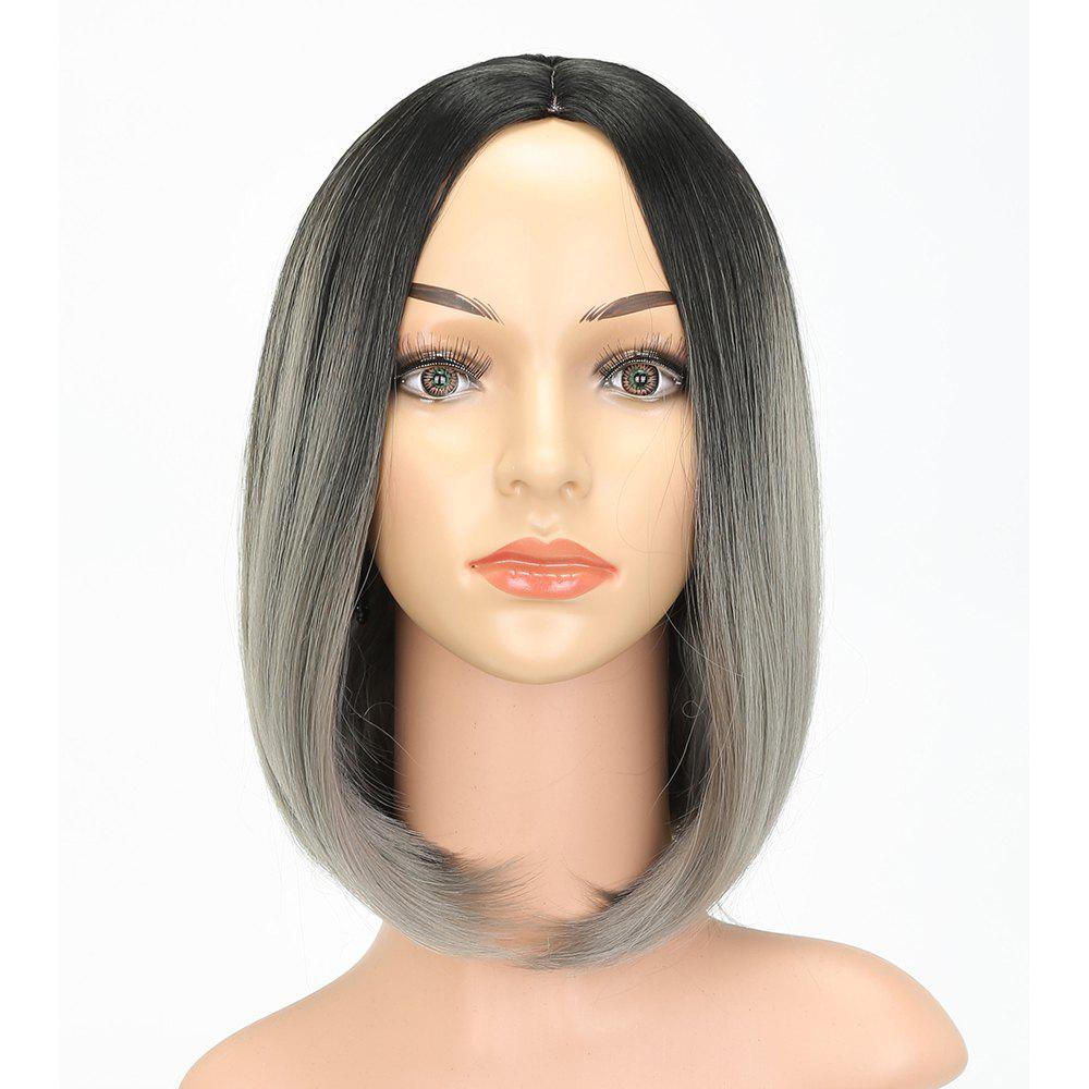Side Bang Straight Long Bob Hair Gray Ombre Synthetic Wig for European Girls - LIGHT GRAY 14INCH