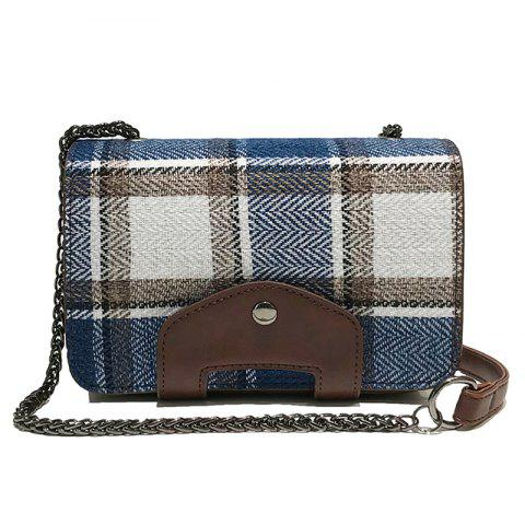 Contracted Grid Single Shoulder Chain Slant Crossbody Bag - BLUE EYES