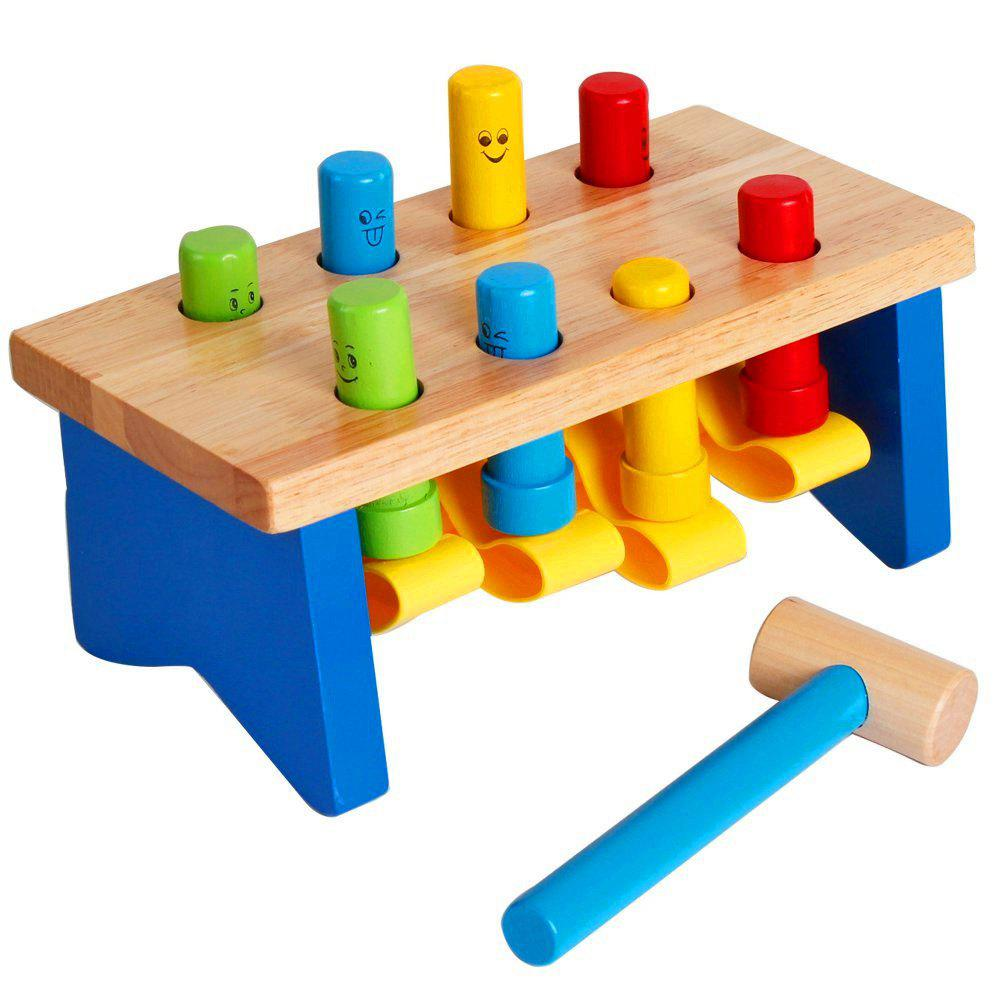 Deluxe Wooden Pounding Bench with Mallet Early Educational Development Toys for wooden america map toys for children kids early educational learning education toys