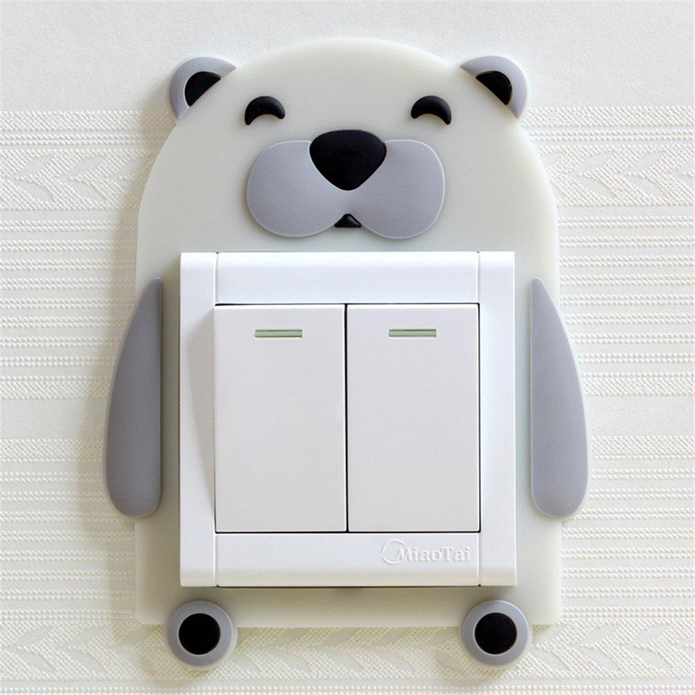 Cartoon Bear Pattern Luminous Silicone Switch Sticker - multicolor