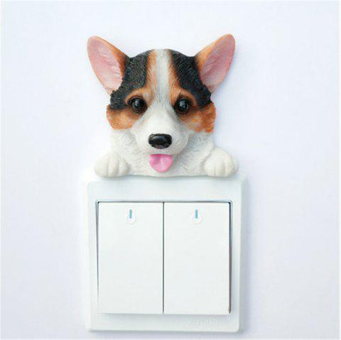 Cute Corgi Resin Switch Stickers Wall Decoration - multicolor A