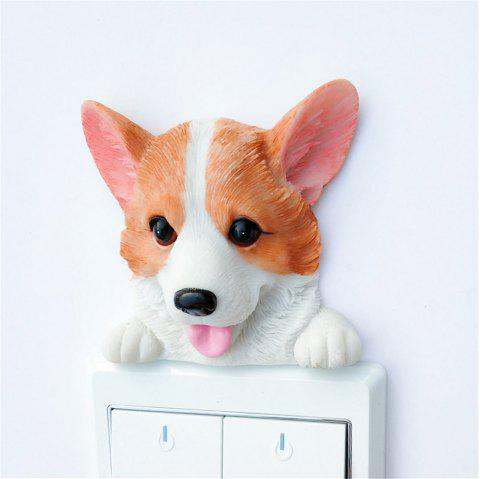 Cute Corgi Resin Switch Stickers Wall Decoration - multicolor B