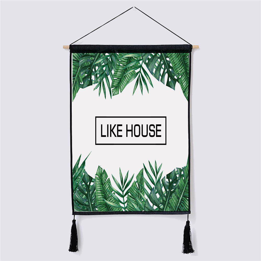 Modern Minimalist Style Green Leaf Fabric Hanging Painting led lamp creative lights fabric lampshade painting chandelier iron vintage chandeliers american style indoor lighting fixture