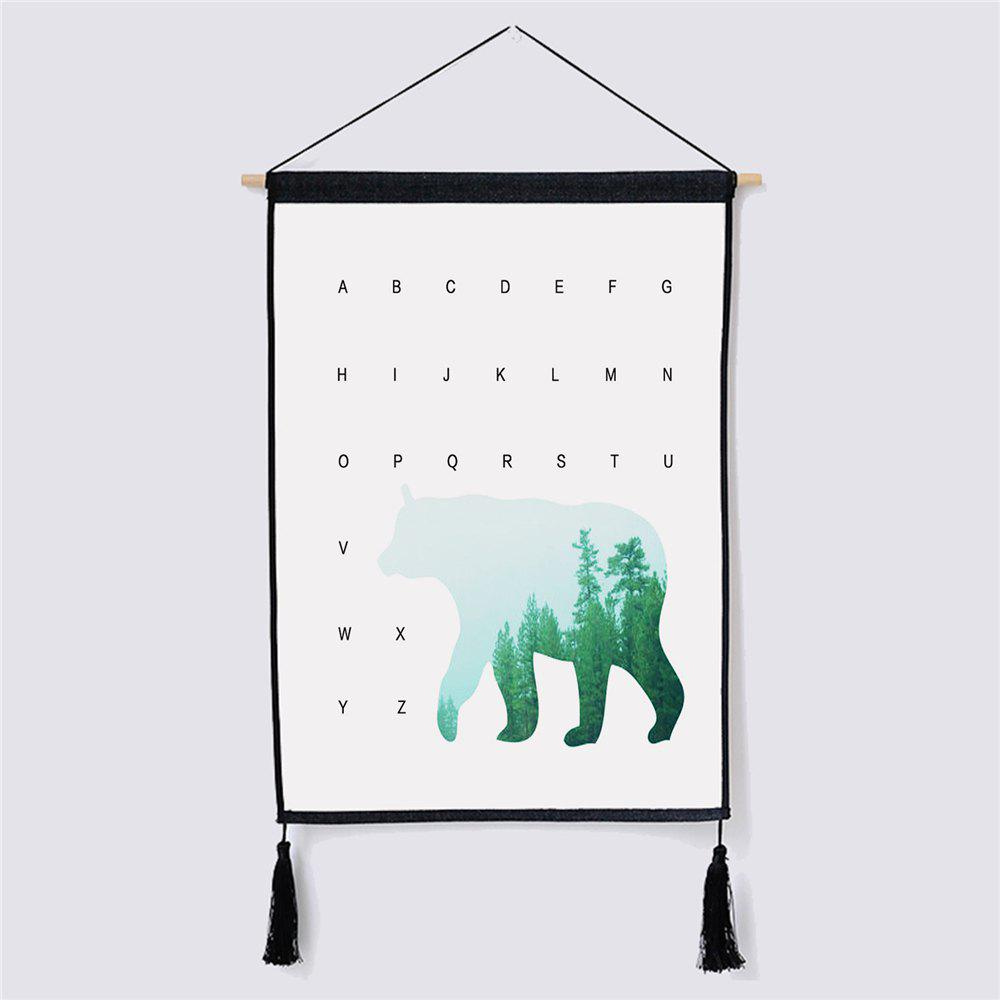 Modern Minimalist Style Polar Bear Fabric Hanging Paintings modern minimalist style green leaf fabric hanging painting