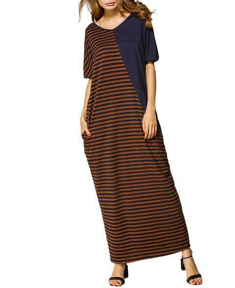 Summer Long Dress Striped Stitching Loose Robe