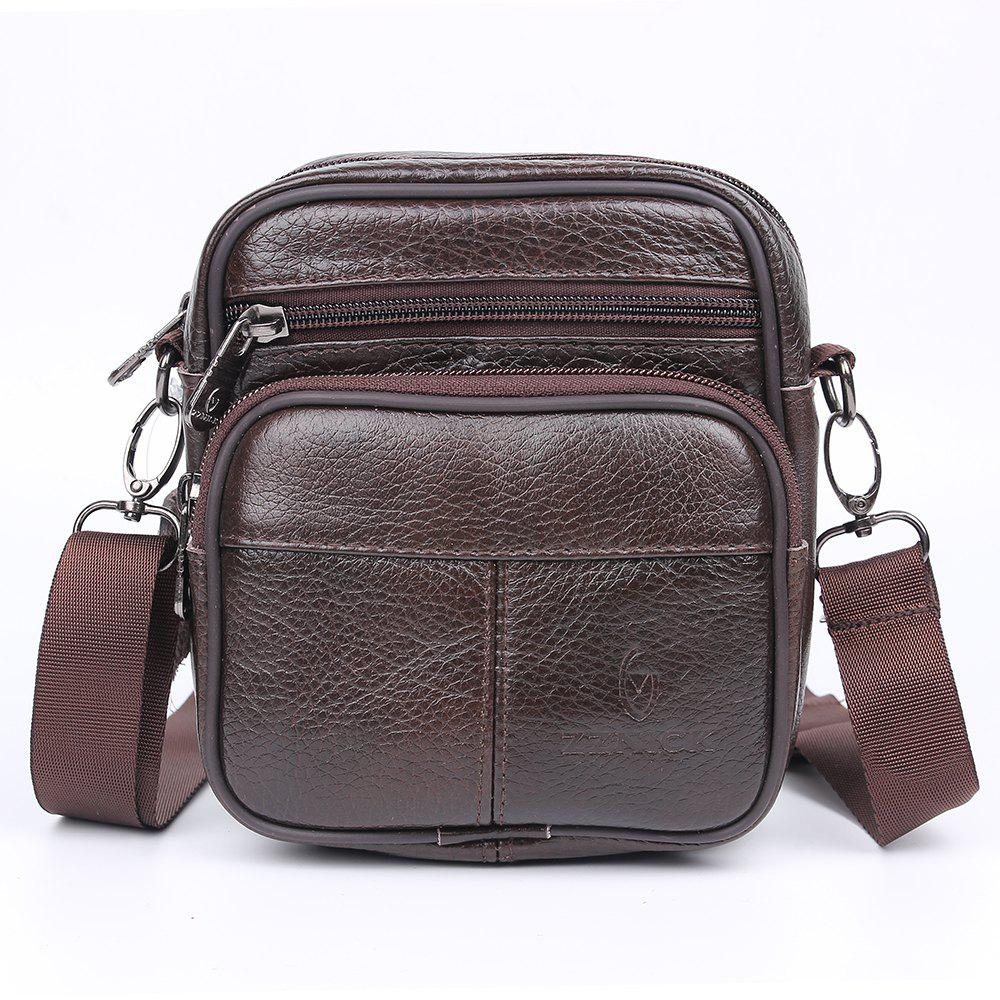 Genuine Leather Versatile Casual Shoulder Messenger Bags for Men Leather Handbags - DEEP BROWN