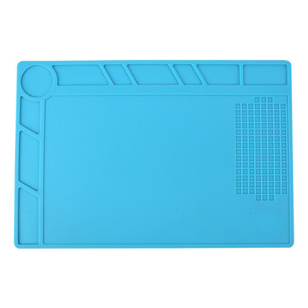 Heat Insulation Silicone Repair Mat with Scale Ruler and Screw Position for Soldering  Phone and Computer Repair - DEEP SKY BLUE